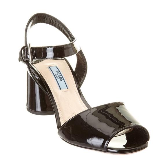 ec432f26f8e Prada Black Patent Leather Block-Heel Sandals. M 5a9c59828af1c529bf104a4f